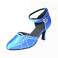 """billige Moderne sko-Dame Moderne Silke Sandaler Joggesko Profesjonell Rhinsten Spenne Stiletthæl Blå 2 """"- 2 3/4"""" Kan spesialtilpasses"""
