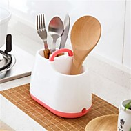 1Pcs  New Design Candy Color Kitchen Storage Box Tableware Knife Fork Spoon Storage Bins Drain Cutlery Kitchen Tools Holder  Random Color