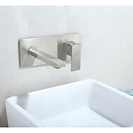 Wall Mounted Ceramic Valve One Hole Nickel Brushed , Bathroom Sink Faucet
