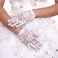 ลูกไม้ ความยาวข้อมือ ถุงมือ ถุงมือลายดอกไม้สำหรับสตรี กับ หินประกาย