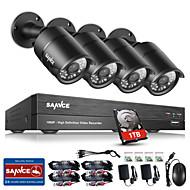 sannce®8ch CCTVセキュリティシステムonvif 1080p ahd / tvi / cvi / cvbs / ip 1inch HDD付き4 * 2.0mpカメラ付き5in1dvr