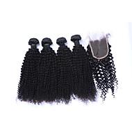 Cabelo Humano Cabelo Brasileiro Cabelo Humano Ondulado Kinky Curly Cacheado Extensões de cabelo 5 Peças Preto