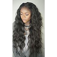 Naisten Aitohiusperuukit verkolla Aidot hiukset Full Lace Liimaton kokoverkko 150% Tiheys Vesilaine Peruukki Musta Keskikokoinen Pitkä