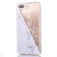 Para iPhone 8 iPhone 8 Plus Case Tampa Com Strass Liquido Flutuante Estampada Capa Traseira Capinha Glitter Brilhante Mármore Rígida PC