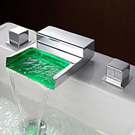Modern/kortárs LED Elterjedt Vízesés with  Réz szelep Két fogantyú három lyuk for  Króm , Fürdőszoba mosogató csaptelep