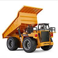 Carro com CR HUINA 1540 Canal 6 2.4G Bulldozer Mine Car Caminhão basculante 1:18 KM / H Controlo Remoto Recarregável Elétrico