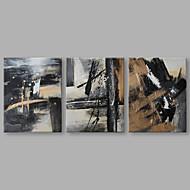 billiga Oljemålningar-Hang målad oljemålning HANDMÅLAD - Abstrakt Artistisk Duk / Tre paneler / Sträckt kanfas