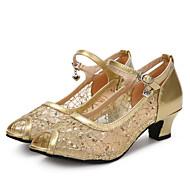 Dame Latin Glimtende Glitter Netting Lakklær Sandaler Høye hæler Joggesko Innendørs Spenne Glimtende Glitter Kubansk hæl Gull Svart Sølv