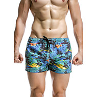 Homens Estampado Calcinhas, Shorts & Calças de Praia Roupa de Banho Floral Sólido Esporte Retro Com Laço Vermelho Azul Marinha Fúcsia