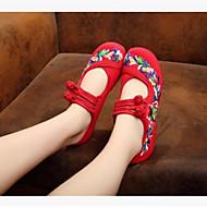 baratos Sapatilhas de Dança-Mulheres Sapatos Lona / Tecido Inverno Sapatilha / Conforto Rasos Dedo Fechado Preto / Vermelho / Azul
