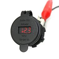 iztoss 2.1a& 2.1a vodotěsná duální USB nabíječka telefonu nabíječka zásuvka napájecí zdroj s voltmetrem červeným světlem