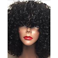 halpa -Naisten Aitohiusperuukit verkolla Aidot hiukset Full Lace Liimaton kokoverkko 130% Tiheys Kihara Peruukki Jet Black Musta Tummanruskea