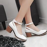Feminino Sapatos Couro Ecológico Primavera Conforto Rasos Salto Baixo Salto Robusto Ponta Redonda Para Casual Branco Preto Amêndoa