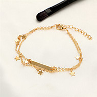 בגדי ריקוד נשים תכשיט לקרסול/צמידים מצופה כסף ציפוי זהב סגסוגת סגנון בוהמיה סטייל פאנק עבודת יד Star Shape תכשיטים עבור רחוב חוף