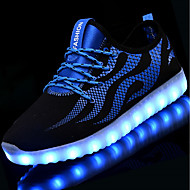 Unisex Sneakers Light Up Shoes Fall Winter Net Tulle Casual LED Low Heel Black/White Blue/Black Under 1in