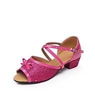 baratos Sapatilhas de Dança-Feminino Sapatos de Dança para Criança Glitter Paetês Sintético Sapatilha Sandália Interior Laço Lantejoulas Frufru Fivela Franzido Salto