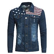 Masculino Jaqueta jeans Bandagem Casual Simples Primavera Outono,Estampado Curto Poliéster Colarinho de Camisa Manga Longa