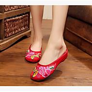 Feminino Sapatos Tecido Verão Conforto Chinelos e flip-flops Para Casual Branco Vermelho Azul