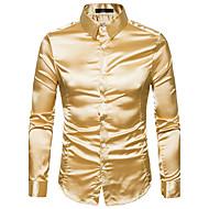 Langærmet Krave Herrer Ensfarvet Gade Afslappet/Hverdag Skjorte,Polyester
