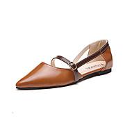 baratos Sapatos Femininos-Mulheres Sapatos Couro Ecológico Primavera / Verão Conforto / Solados com Luzes Sandálias Sem Salto Dedo Apontado Presilha Amêndoa /