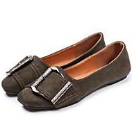 Dame Sko Lin PU Vår Sommer Komfort Flate sko Til Avslappet Svart Gul Militærgrønn