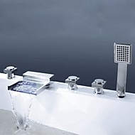 Contemporary Modern Style Widespread Waterfall Handshower Included with  Brass Valve Three Handles Five Holes for  Chrome , Bathtub Faucet