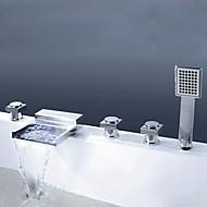 Çağdaş Modern Stil Ayrılmış Gövdeli Şelale El Duşu Dahil with  Pirinç Vana Üç Kolları Beş Delik for  Krom , Küvet Muslukları