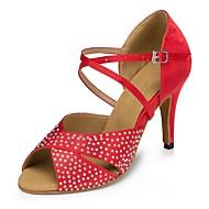 baratos Sapatilhas de Dança-Mulheres Sapatos de Dança Latina Cetim Sandália Cristal / Strass Salto Agulha Personalizável Sapatos de Dança Preto / Vermelho / Couro