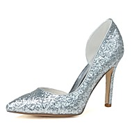 cheap Plus Size Shoes-Women's Shoes Glitter Spring Summer Formal Shoes Heels Stiletto Heel Pointed Toe for Dress Gold Silver