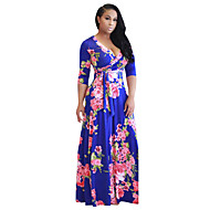 Žene Plaža Boho Swing kroj Haljina Cvjetni print V izrez Maxi Visoki struk