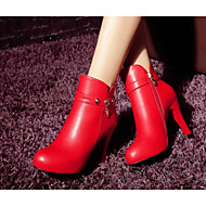 Women's Shoes Real Leather PU Fall Winter Comfort Basic Pump Combat Boots Boots For Casual Black Red