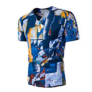 Masculino Camiseta Casual Simples Verão,Estampado Algodão Decote V Manga Curta