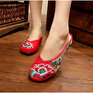 Feminino Sapatos Tecido Verão Conforto Chinelos e flip-flops Para Casual Preto Vermelho Verde