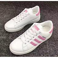 Damer Sneakers Komfort Forår Sommer PU Afslappet Sort Blå Lys pink Flad