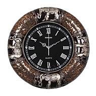 levne -tradiční Země Neformální Zvířata Nástěnné hodiny,Kulatý Slon Hodiny Pryskyřice Vevnitř Hodiny