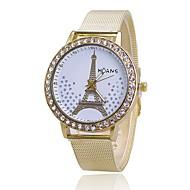 billige Quartz-Dame Quartz Armbåndsur Japansk Hot Salg Legering Bånd Vedhæng Afslappet Eiffeltårnet Simuleret Diamond Watch Kjoleur Elegant Mode Guld