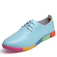 """נשים נעלי אוקספורד ג'לי דמוי עור אביב סתיו קזו'אל שמלה שרוכים עקב שטוח לבן שחור חום כחול מתחת ל 2.54 ס""""מ"""