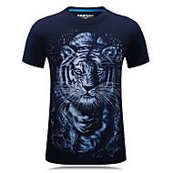 Rund hals Herre Bomuld, Trykt mønster Aktiv Sport Plusstørrelser T-shirt Tiger