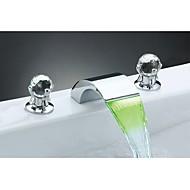 levne Koupelnové baterie-Mění barvy Křišťál Široká baterie Křišťál Vodopád Světla LED světlo Keramický ventil Dvěma uchy tři otvory Pochromovaný, Koupelna