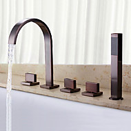 cheap Bathtub Faucets-Bathtub Faucet - Waterfall Handshower Included Oil-rubbed Bronze Widespread Three Handles Five Holes