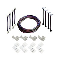 cheap Lamp Bases & Connectors-A set- LED Strips Connectors Full Kits Strip to Strip 5M Jumper L-Shape Corner Connector RGB Extension Cable Gapless Connector Strip to Control box