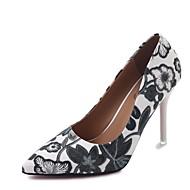 cheap Women's Heels-Women's Shoes PU Summer Comfort Heels Walking Shoes Stiletto Heel Pointed Toe Flower for Casual Black Brown