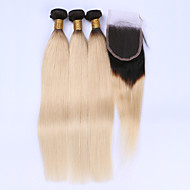 Beata Hair 1B/613 Dark Root Blonde Brazilian Virgin Hair With Closure Ombre Hair Extensions 4Pcs/ Lot Straight Hair