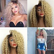 Ženy Paruky z přírodních vlasů Přírodní vlasy Se síťovanou přední částí Krajka vpředu 130% Hustota Kinky Curly Paruka Black / Bleach