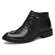 Men's Boot Fluff Lining Driving Shoe Formal Shoe Comfort Bootie Winter Real Leather Cowhide Nappa Leather Casual Office & Career Lace-up