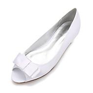 billige Bryllupssko-Dame Sko Sateng Vår / Sommer Komfort / Ballerina bryllup sko Flat hæl Titte Tå Sløyfe / Satengblomst / Blomst Blå / Lysebrun / Krystall