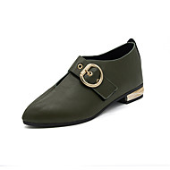 Women's Loafers & Slip-Ons Comfort Spring Fall PU Casual Buckle Flat Heel Army Green Black Flat