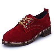 Naiset Oxford-kengät Comfort Kevät Syksy PU Kausaliteetti Solmittavat Tasapohja Musta Armeijan vihreä Burgundi Alle 1in