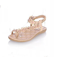 baratos Sapatos Femininos-Mulheres Sapatos Couro Ecológico Verão / Outono Conforto / Inovador Sandálias Sem Salto Ponteira Apliques / Elástico Branco / Rosa claro