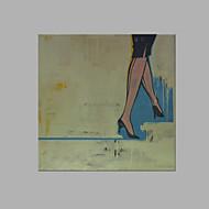 billiga Människomålningar-Hang målad oljemålning HANDMÅLAD - Människor Artistisk Duk